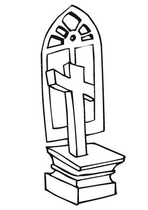 Ausmalbilder Kreuz mit Kirchenfenster - Christentum Malvorlagen