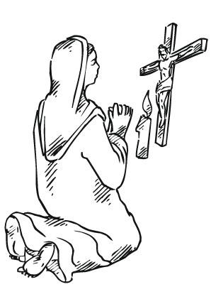 Ausmalbilder Betend vor Jesus - Jesus Malvorlagen