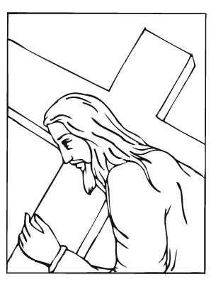 ausmalbild jesus am kreuz tragen zum ausdrucken