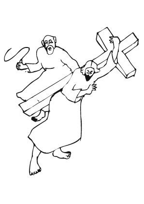 Ausmalbilder Jesus trägt sein Kreuz - Jesus Malvorlagen