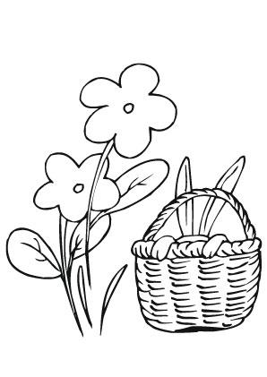 Ausmalbilder Osterkorb Mit Häschen Und Blumen Ostereier Malvorlagen