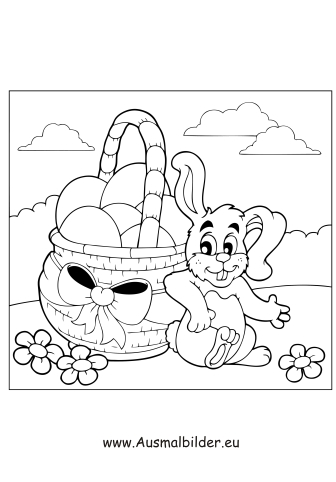 Ausmalbilder Osterhase 3 - Osterhasen Malvorlagen