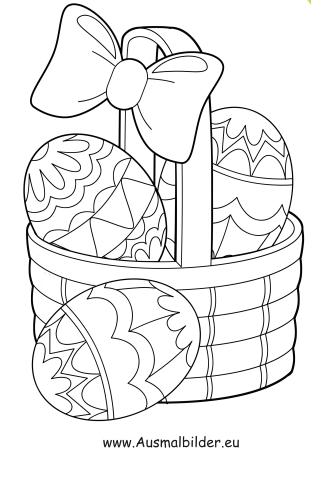 Ausmalbilder Korb mit bunten Ostereiern - Ostern Malvorlagen
