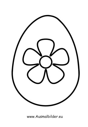 Ausmalbilder Osterei mit Blume - Ostern Malvorlagen