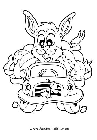 Ausmalbilder Osterhase im Auto   Ostern Malvorlagen