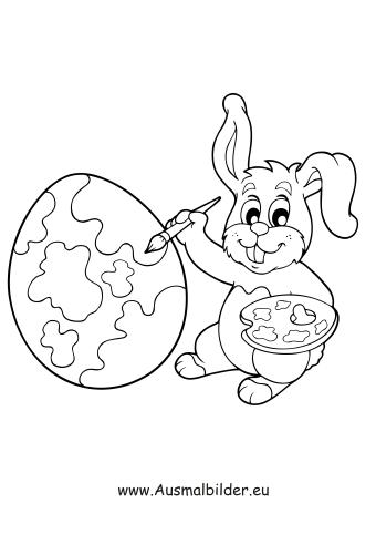 Ausmalbilder Osterhase malt Ostereier bunt   Ostern Malvorlagen